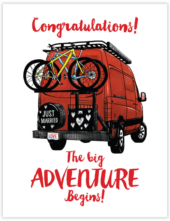 Congratulations wedding card with red sprinter van and 2 bikes on rack. Romantic camping and adventure greeting card.
