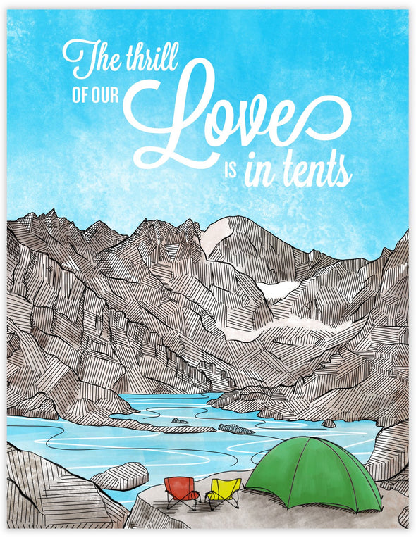 Romantic card with a campsite by a lake. Rocky Mountain National Park. Valentines Day Anniversary greeting card.