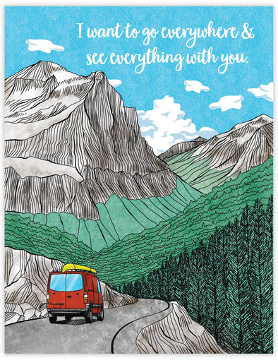 Adventure card with red sprinter van with canoe driving through the mountains.  Going To the Sun Road in Glacier National Park. Outdoor and travel greeting card.