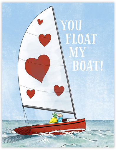 Romantic greeting card with couple sailing in love. Valentines Day Anniversary greeting card.