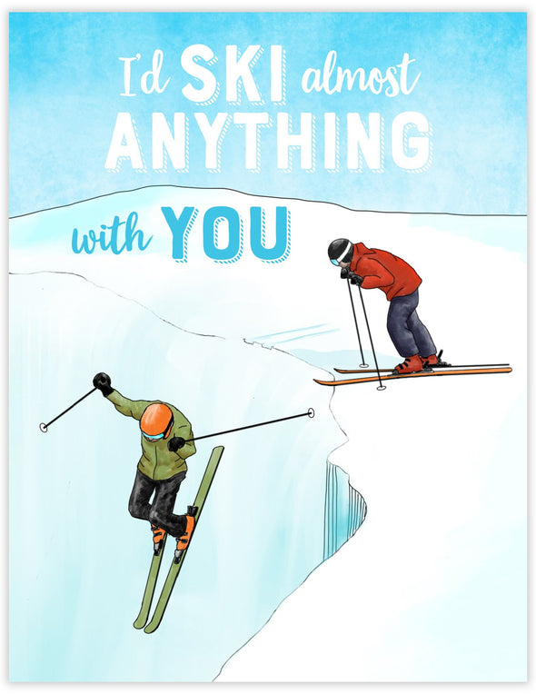 Adventurous card with skiers skiing a steep slope. Black Diamond skiing greeting card.