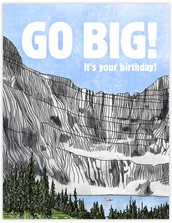 Birthday card with giant mountain landscape with kayakers. Iceberg Lake in Glacier National Park. Celebratory outdoor adventure birthday card.