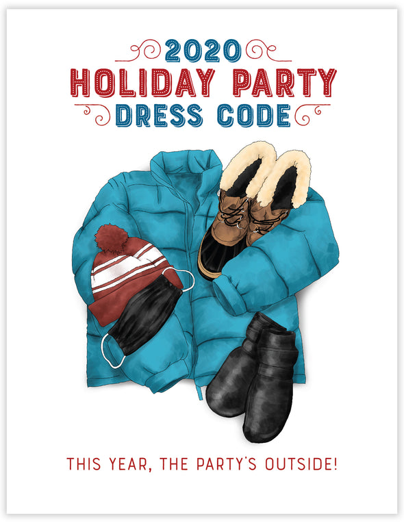 Holiday Party Dress Code Un-Boxed Set of 8 Notecards