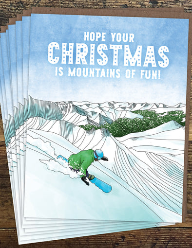 Snowboard Christmas Un-Boxed Set of 8 Notecards