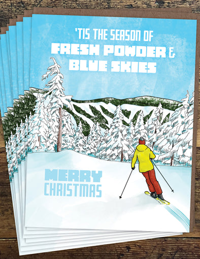 Alpine Ski Christmas Un-Boxed Set of 8 Notecards