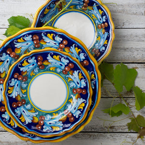 Italian ceramic 3pc dinner set hand painted Giglio design