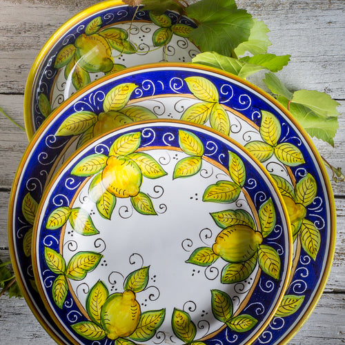 Italian ceramic 3pc dinnerware set hand painted lemon design, made in Deruta Italy