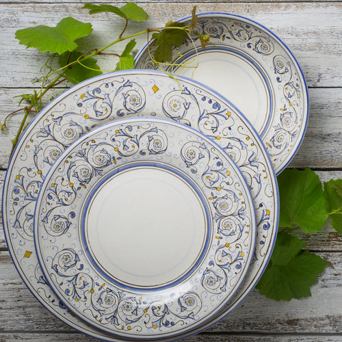 Italian ceramic 3pc dinner set hand printed Montanari design