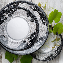 Load image into Gallery viewer, Italian ceramic 3pc dinner set hand printed Nero Deruta design
