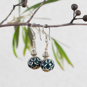 Hand painted ceramic earrings - dark green, black & white - round - sterling silver