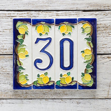 Load image into Gallery viewer, Italian ceramic number tile featuring lemons and blue contrast on a white background.