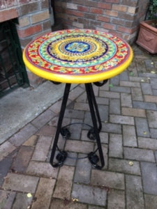 Ceramic table top - 45cm diam - Geometric