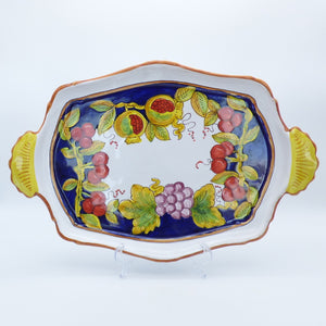 Pomegranates, cherries & grapes - fancy tray with handles 38cm x 26cm