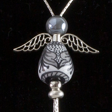 Load image into Gallery viewer, Italian hand painted ceramic angel necklace - silver - grey & black