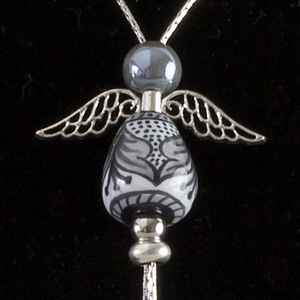 Italian hand painted ceramic angel necklace - silver - grey & black