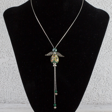 Load image into Gallery viewer, Italian hand painted ceramic angel necklace - silver - green & yellow