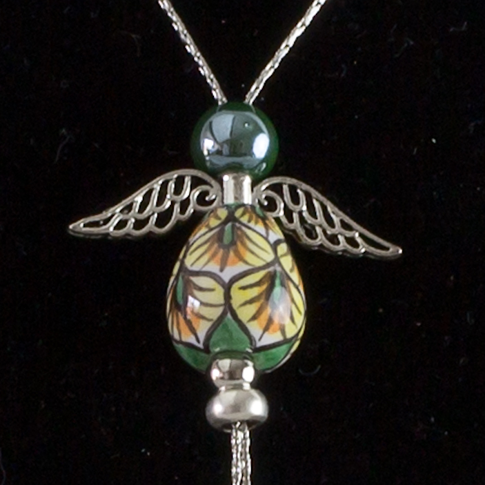 Italian hand painted ceramic angel necklace - silver - green & yellow