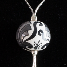 Load image into Gallery viewer, Italian hand painted ceramic necklace - silver, grey & black