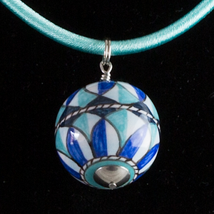 Italian hand painted ceramic necklace - coloured cord - blues