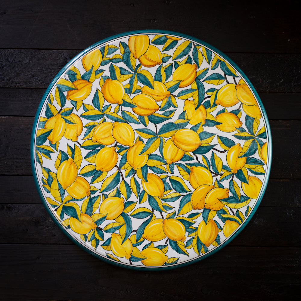 Ceramic table top - 60cm diam - Lemon, green & white