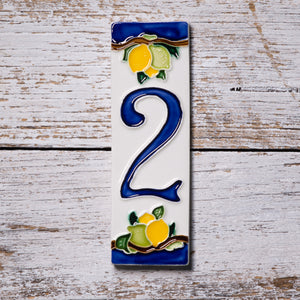 Ceramic number tile - lemon & blue