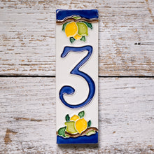 Load image into Gallery viewer, Ceramic number tile - lemon & blue