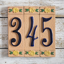 Load image into Gallery viewer, Ceramic number tile - terracotta - blue number with yellow flowers