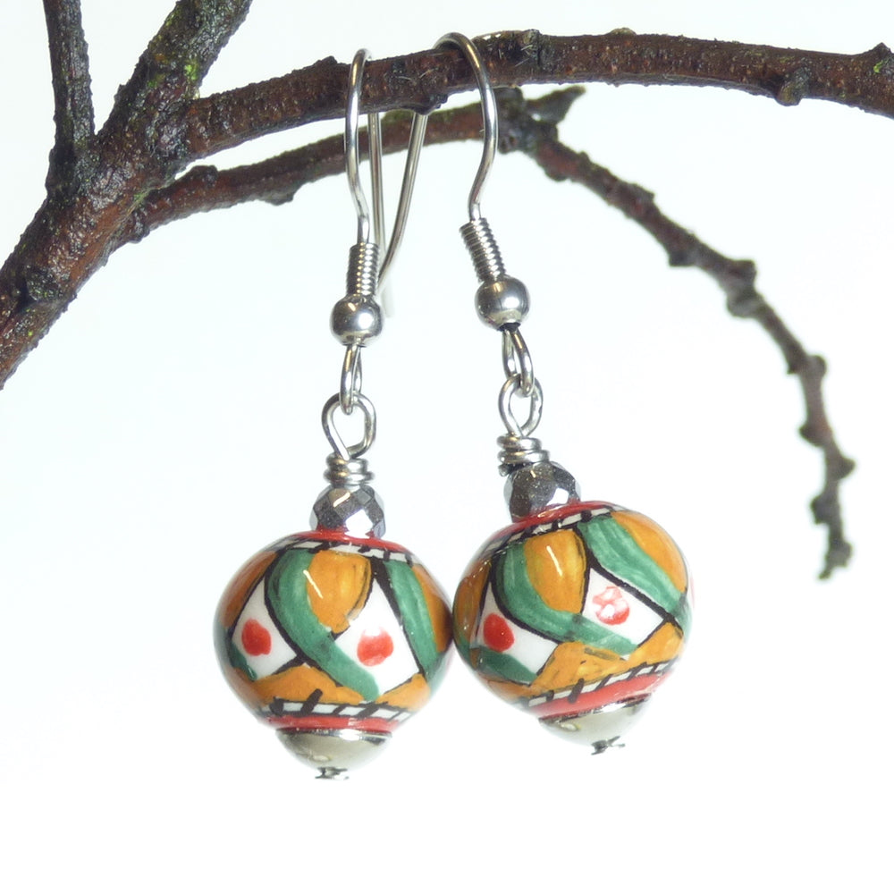Hand painted ceramic earrings - green, orange & red