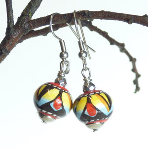 Hand painted ceramic earrings - red, yellow, light blue & black