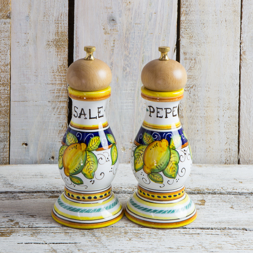 Salt & pepper grinders - Lemon (wooden tops)