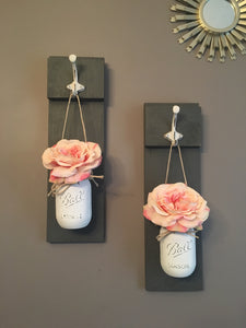 Rustic Dark Gray Mason Jar Sconce, Farmhouse Decor, Reclaimed Wood, Shabby Chic, Rustic Dining Room Decor, Housewarming Gift, Gifts for Her