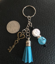 Keychain with Skeleton Key, Beads and Blue Tassel, Key Ring, Gifts for Her, Symbolic Key Charm for Success in Life & Love, Birthday Gift