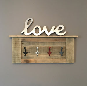 Rustic Wooden Coat Rack..Coat Hooks..Entryway Decor
