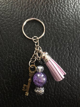 Lavender Tassel Keychain with Skeleton Key and Mixed Beads, Purple Key Ring, Gifts for Her, Symbolic Key Charm for Success in Life & Love