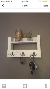 Entryway Key and Mail Holder in Distressed White, Farmhouse Decor