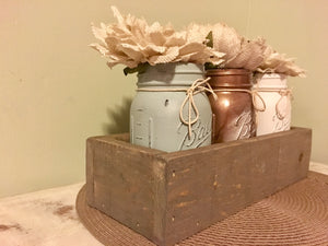 Mason Jar Box/Rustic Mason Jar Holder/Mason Jar Centerpiece