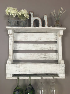 Wine Rack in Distressed White, Rustic Wooden Wine Rack, Farmhouse Decor, Shabby Chic