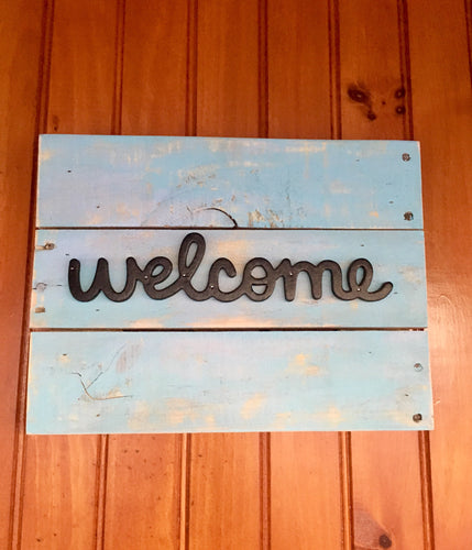 Welcome Sign, Rustic Wood Signs, Beach Decor