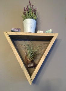 Rustic Wood Triangle Shelf, Reclaimed Wood, Rustic Decor, Crystal Display