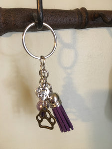 Paw Print Keychain with Purple Tassel, Key Ring with Healing Beads, Gifts for Her, Dog Lover Gift, Mixed Metals