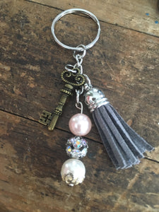Beaded Keychain with Skeleton Key and Gray Tassel, Key Ring, Gifts for Her, Symbolic Key Charm for Success in Life & Love, Mixed Metal