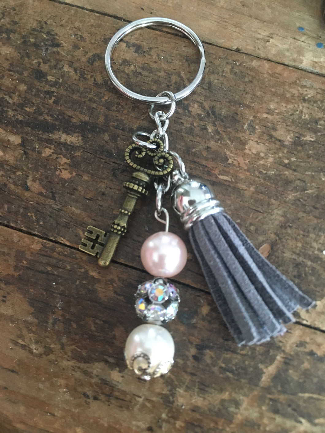 Keychain with Skeleton Key and Gray Tassel, Key Ring, Gifts for Her, Symbolic Key Charm for Success in Life & Love, Mixed Metal