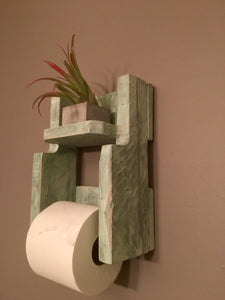 Toilet Paper Holder with Distressed Blue/Green Finish