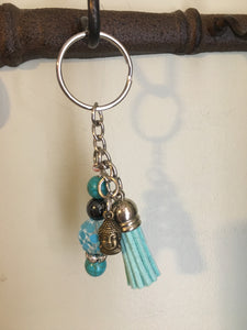 Mixed Metal Keychain with Buddha Charm and Healing beads, Hematite Beads, Turquoise Beads, Blue Tassel, Gifts for Her