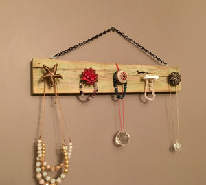 Hanging Necklace Display in Distressed Pale Green