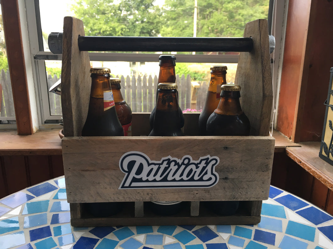 Patriots Beer Holder, Reclaimed Wood, Man Cave, Gifts for Him, Groomsman Gift, Father's Day, Bottle Holder, 6 Pack Holder, Boyfriend Gift