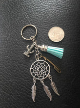 Dreamcatcher and Cactus keychain with light blue tassel, Cactus Keychain, Mixed Metals, Arrow Charm, Gifts for Her, Friend Gift, Southwestern