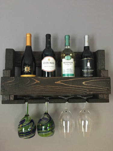 Rustic Wine Rack Finished in Espresso, Farmhouse Decor