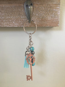 Mixed Metal Keychain with Rose Gold Skeleton Key and Healing beads, Hematite Beads, Turquoise Beads and Tassel, Gifts for Her