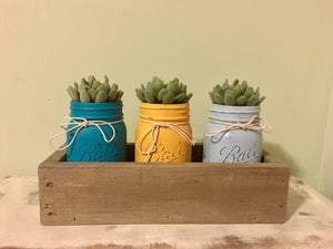 Mason Jar Centerpiece with Succulents..Pallet Mason Jar Holder
